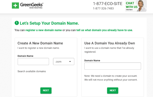 Greengeeks free domain